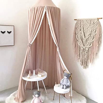 Grey Flyinghedwig Bed Canopy for Children Round Dome Kids Cotton Mosquito Net Hanging Curtain Baby Indoor Outdoor Play Reading Tent Bedroom Nursery Decoration