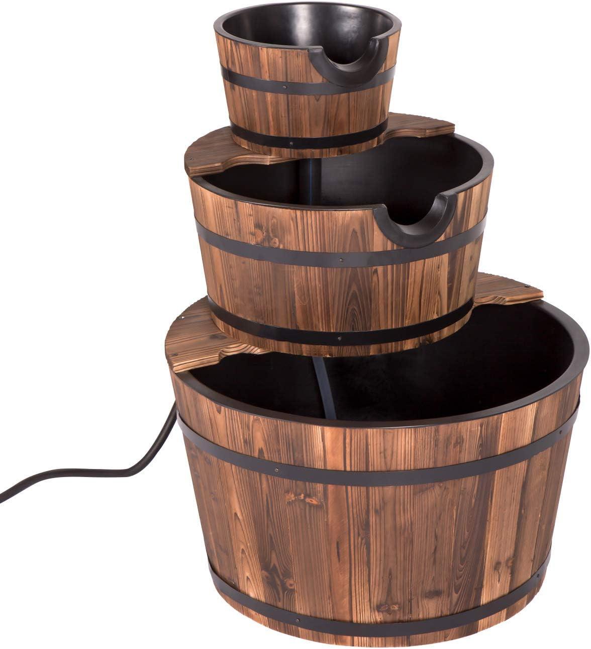 Fuente de agua de madera rústica para jardín al aire libre ...