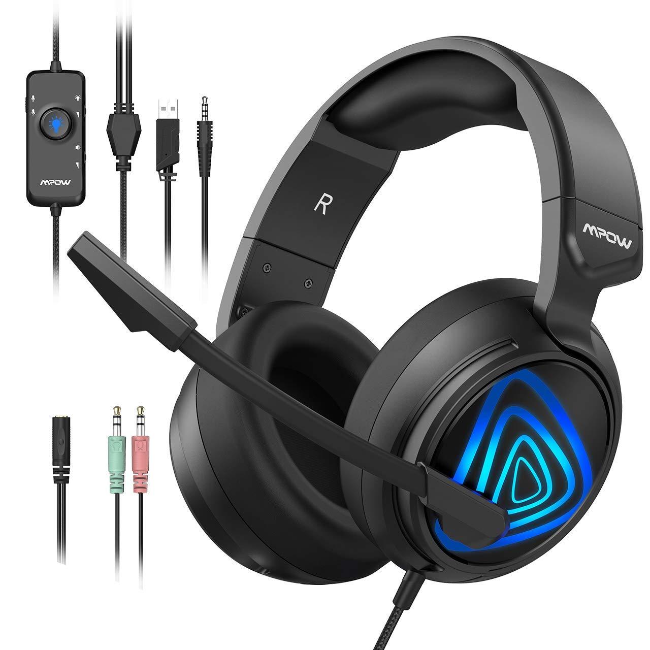 Mpow Elfo Nocturno Auriculares Gaming PS4, Cascos Gaming con Micrófono Reducción para PS4 Xbox One