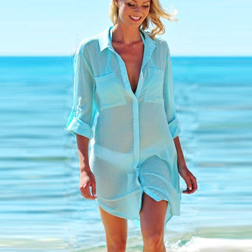 Eoeth Big Sale!Women Beach Cover Up Solid Button Down Shirts Sunscreen Bikini Swimsuit Blouse with Pocket Tops T-Shirt