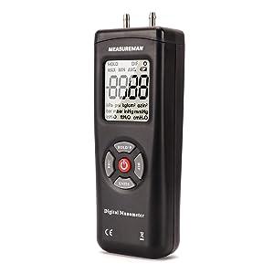 Measureman Handheld Digital Differential Pressure Gauge, Vacuum and Pressure Gauge Meter Tester 11 Units with Backlight, ±2Psi/Kpa, 1-2 Pipes Air System Measurement