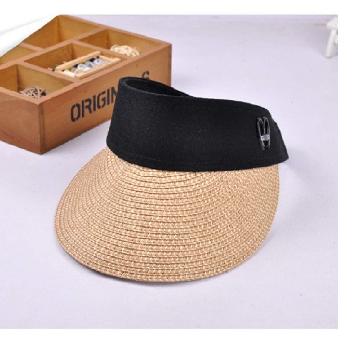 Womens Summer Straw Sun hat Wide Brim Empty Top Sun Hat Beach Cap