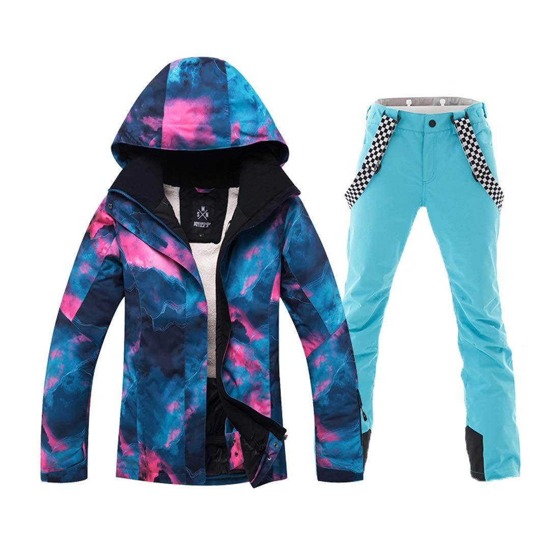 KingsleyW スノーバードアウトドアハイキングのための女性のマウントスキージャケットとパンツ防水防風スノースーツ (色 : 青, サイズ : M) 青 Medium