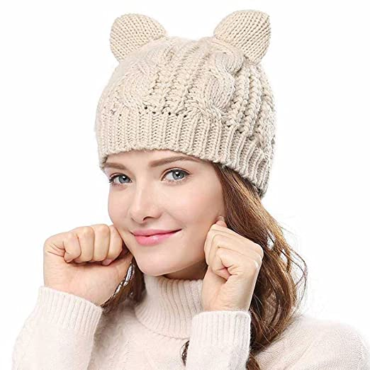 a13d167a95c Image Unavailable. Image not available for. Color  Cocobla Women s Hat Cat  Ear Crochet Braided Knit Caps