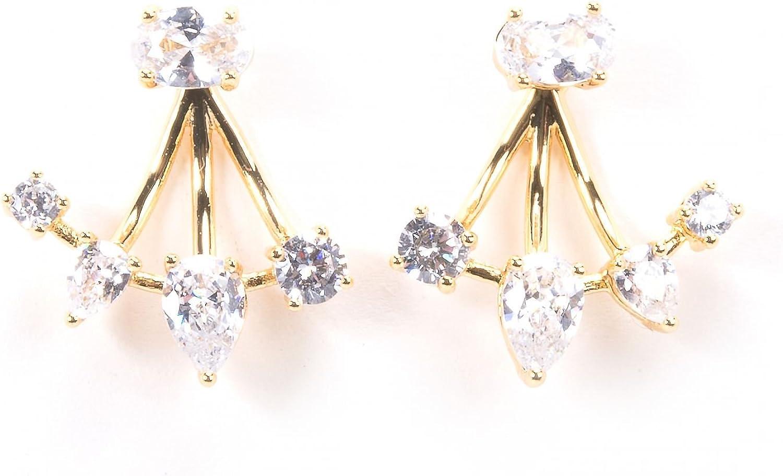 Cubic Zirconia Stud Earrings with Ear Enhancer Rosegold