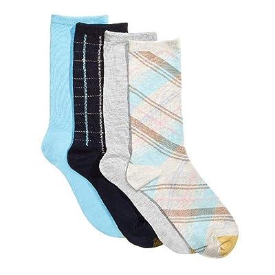 Gold Toe Women's 4-Pk. Madras & Windowpane Plaid Socks - one size at Amazon Women's Clothing store