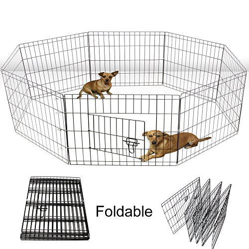 Yoshioe 24″ Tall Metal Pet Playpen Folding Exercise Wire Fence 8 Panel Yard Hammigrid Outdoor For Sale