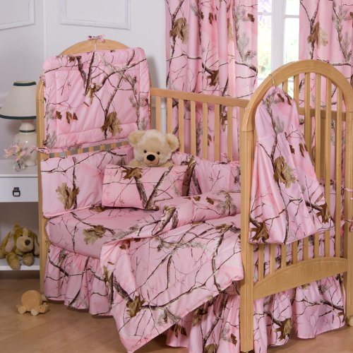 Realtree AP Pink Camo 4 Piece Crib Set and a Set of two (2) Valances includes (Crib Fitted Sheet, Crib Bumper Pad, Crib Headboard Pad, Crib Comforter and a Set of (2) two Valances)- Save Big By Bundling! by Realtree
