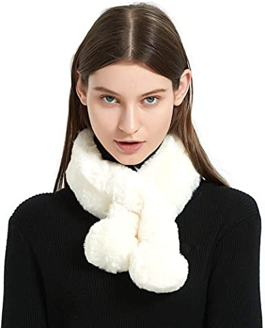 Fashion Women Faux Fur Collar Scarf Winter Warm Neck Shawl Wrap Stole Scarves