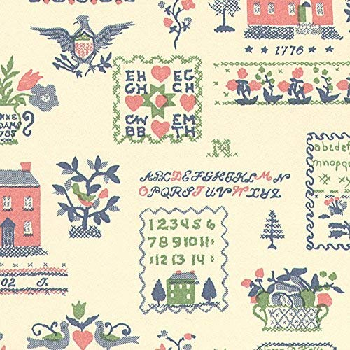 Melody Jane Dollhouse Sampler Pink Green Miniature Print Wallpaper 3 Sheets