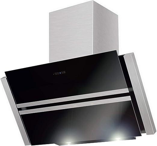 Maan campana Roxy negro 90 cm. Negro Cristal. LED. 835 M3/H. Mando a distancia. Extractor de cocina con 2 filtros de carbón libre. De Londres Reino Unido. UE clase de eficiencia A: