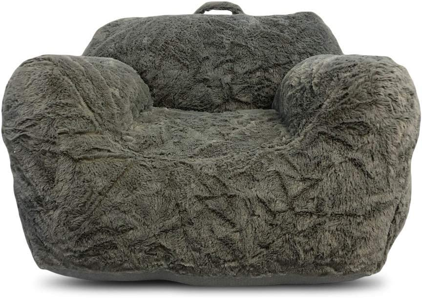 Heritage Kids Faux Fur Grey Bean Bag Sofa Chair with Top Handle, Ages 2+