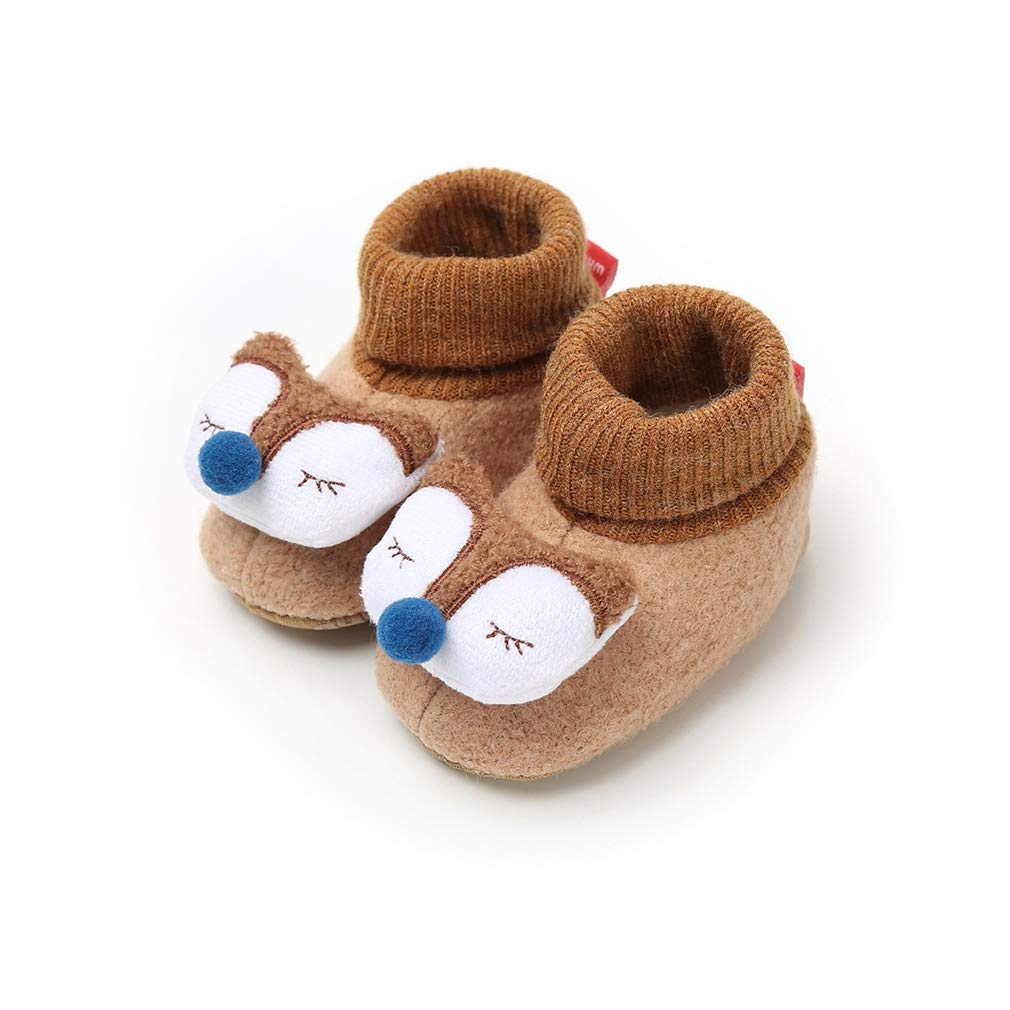 Vanbuy Cute Animal Baby Fleece Booties Knit Slippers Infant Toddler Soft Warm Crib Shoes