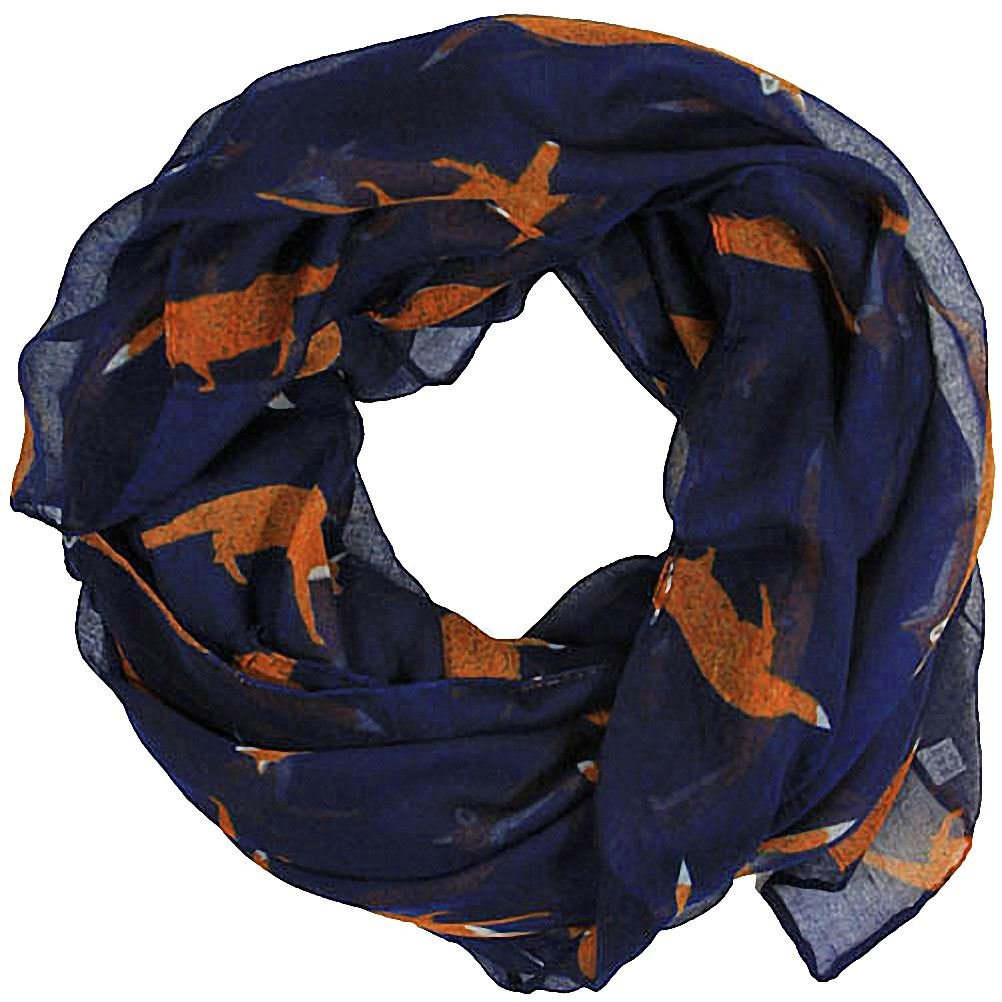 Women scarves fox print large lightweight scarf shawl wrap (Navy)