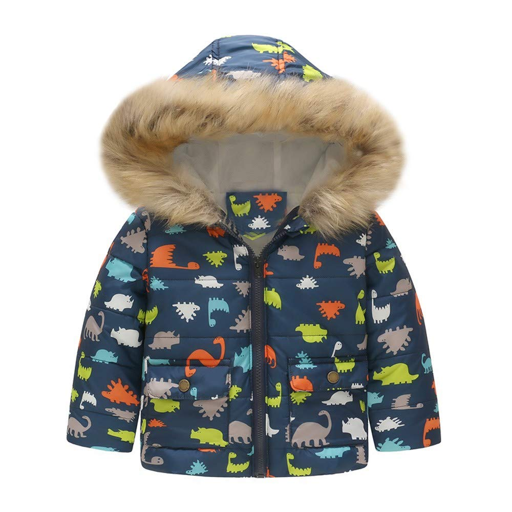 LHWY Toddler Baby Girl Boy Floral Dinosaur Winter Warm Jacket Hooded Windproof Coat with Fur Hood Kids Cloths