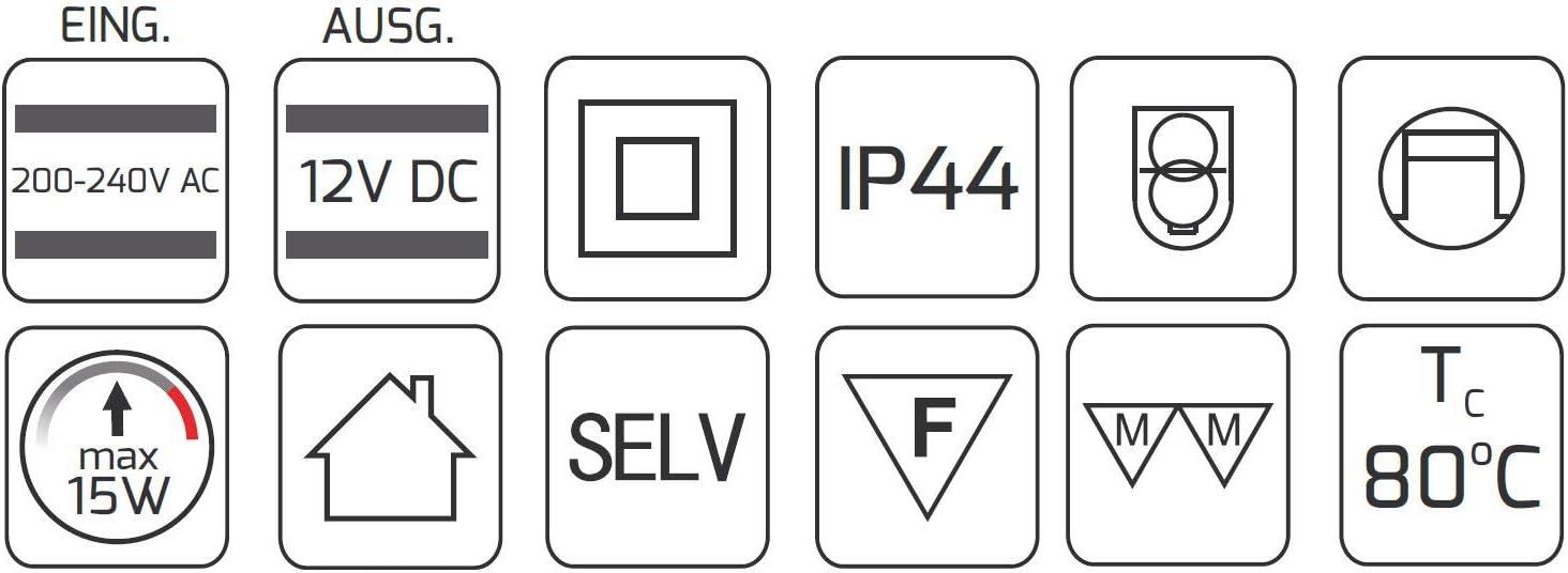 Convient pour LED 130 x 41 x 15 mm Superslim Transformateur LED pour pi/èces humides IP44 15 W 12 V