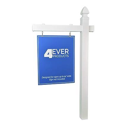 amazon com 4ever vinyl pvc real estate sign post white single