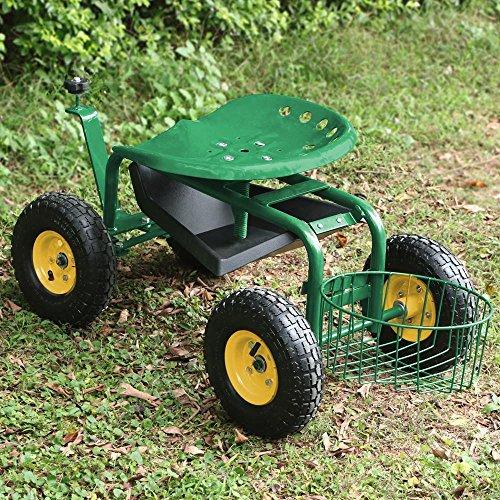 Yaheetech Green Heavy Duty Garden Cart Rolling Work Seat w/Tool Tray Gardening Planting Yard by Yaheetech (Image #2)