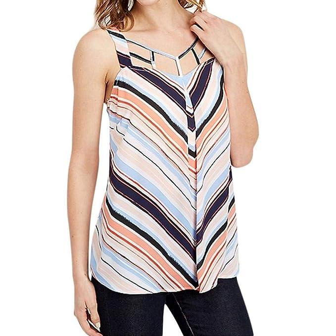 Blusas Elegantes Moda Mujer Camisas Verano Estampadas Patrón Agujeros Espalda Descubierta Sencillos Sin Tirantes Sling Elástica