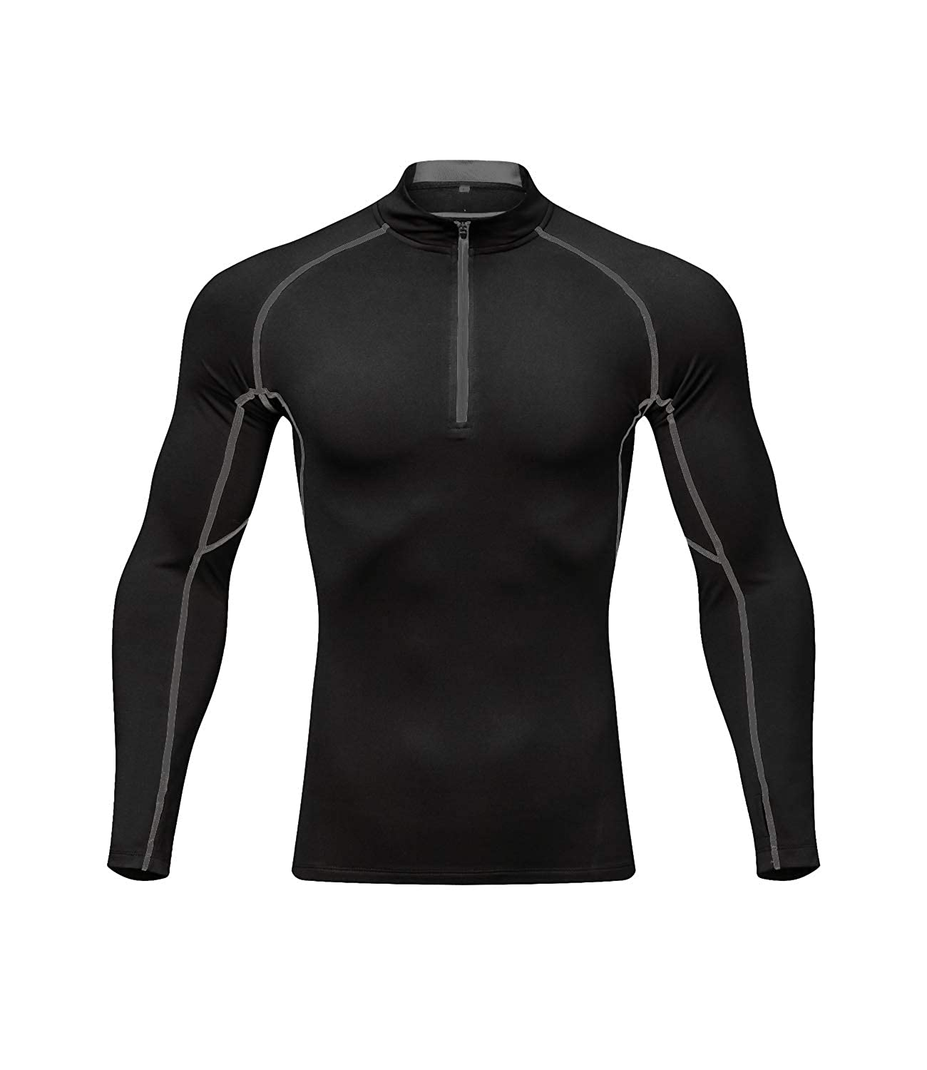 Outto Men's Thermal Underwear Fleece Lined Midweight Baselayer Layered Shirt 1/4 Zip Neck Top