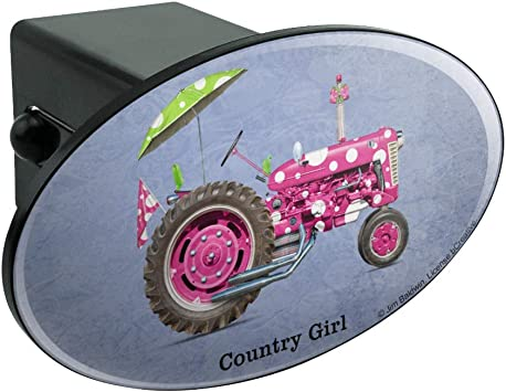Graphics and More Farm Tractor Country Girl Pink Polka Dot Farming Tow Trailer Hitch Cover Plug Insert