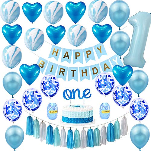 LOLOAJOY Baby Boy First Birthday Decorations Happy Birthday Banner Number 1 Heart and Confetti Balloons Marble Balloons Premium ONE Cake Topper 1st Birthday Boy Decorations Blue Party Supplies