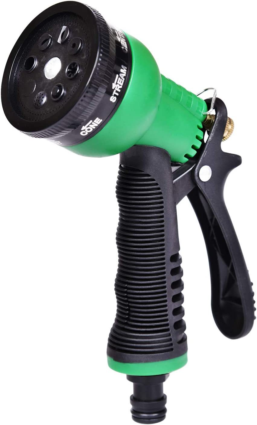 Hose Nozzle, Garden Hose Nozzle, High Pressure Hose Sprayer with 8-Adjustable Watering Patterns for Watering Plants, Washing Car, Bathing Pets and General Cleaning (Black and Green)