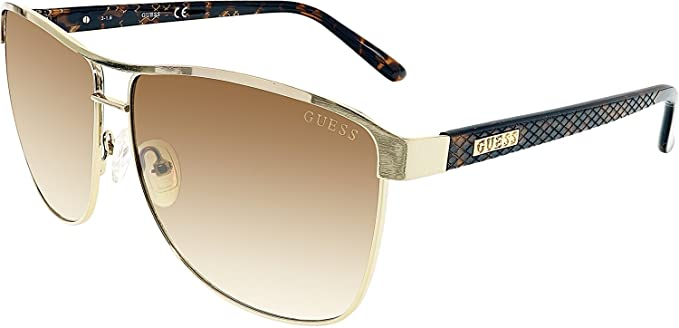 5715b0a73fec4 Guess Women s Gradient GUF255-GLD-34 Gold Aviator Sunglasses at Amazon Men s  Clothing store