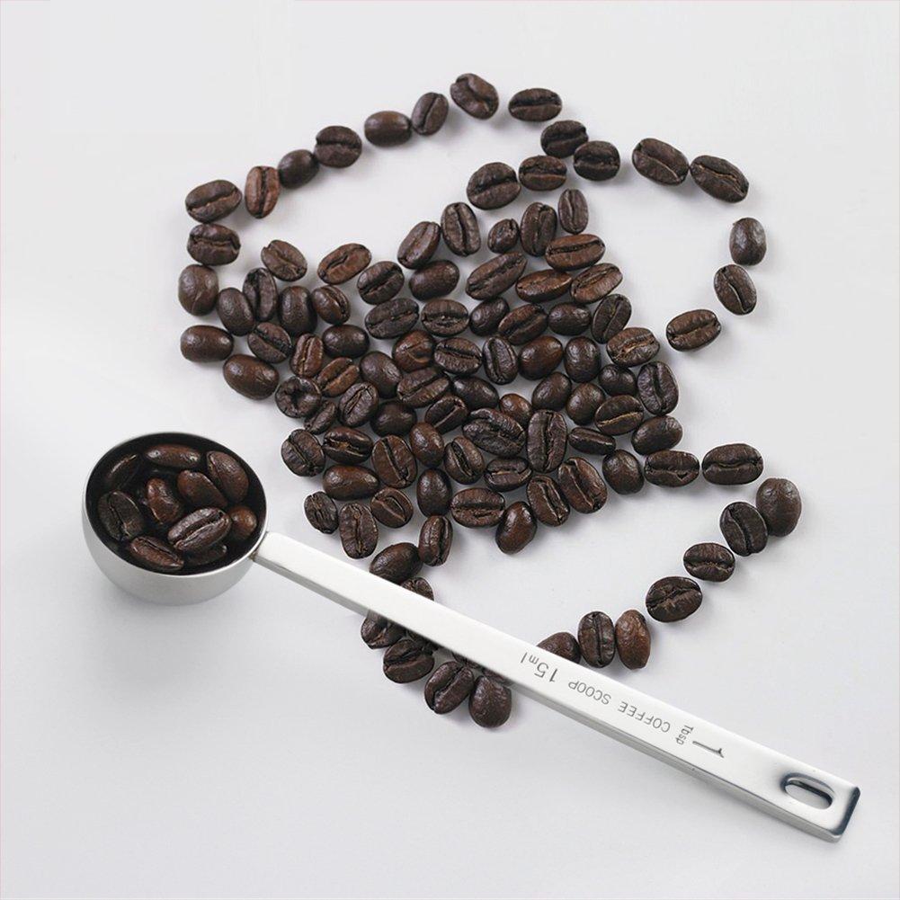 7-Almond Endurance Stainless Steel 1 Tablespoon Measuring Coffee Scoop Spoon, Set of 5