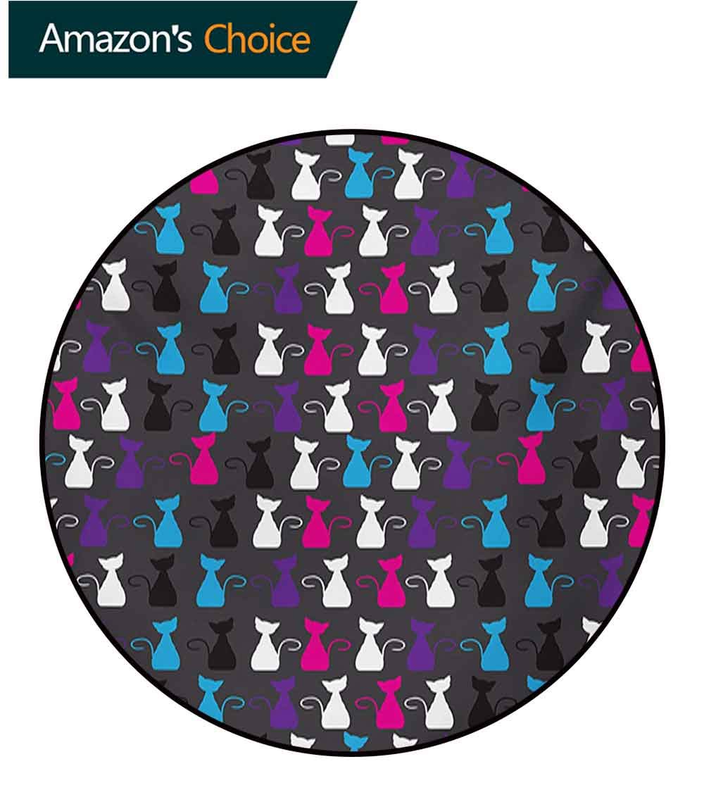 RUGSMAT Kids Abstract Animals Art Rug Round Home Decor Area Rugs,Colorful Ornamental Kittens Drawings of Funny Cat Silhouettes Non-Skid Bath Mat Living Room/Bedroom Carpet,Diameter-47 Inch