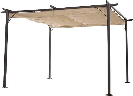 Outsunny Pérgola de Metal 3.5x3.5m Gazebo Cenador para Jardín Patio o Terraza con Techo Retráctil Tela Poliéster Resistente al Agua y UV