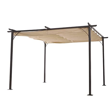 42234183b0cf Outsunny 3.5M X 3.5M Metal Pergola Gazebo Awning Retractable Canopy Outdoor  Garden Sun Shade Shelter