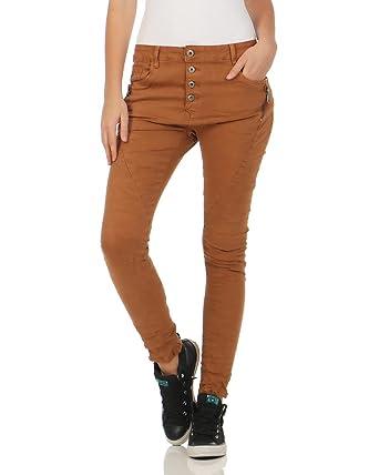 Lexxury Damen Chino Jeans Denim Stretchhose Baggy Boyfriend Hose mit  Knopfleiste Used Washed Hüfthose L1808 ( 8a8cebe9f1