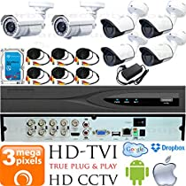 USG 3MP HD-TVI 6 Camera CCTV Kit : 4x 2.8mm Wide Angle + 2x 5-50mm Telephoto Bullet Cameras + 1x 8 Channel 3MP DVR + 1x 4TB HDD + 6x 100ft CCTV Cable + 2x 4 Channel Power Supply : Android Apple App