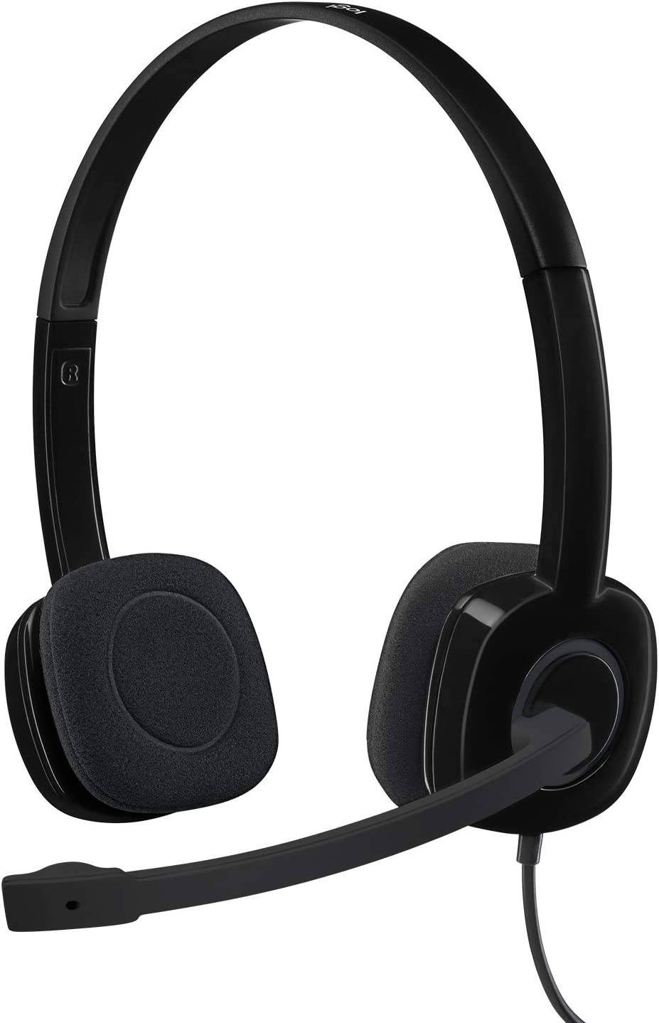 Amazon Com Logitech 3 5 Mm Analog Stereo Headset H151 With Boom Microphone Black Computers Accessories