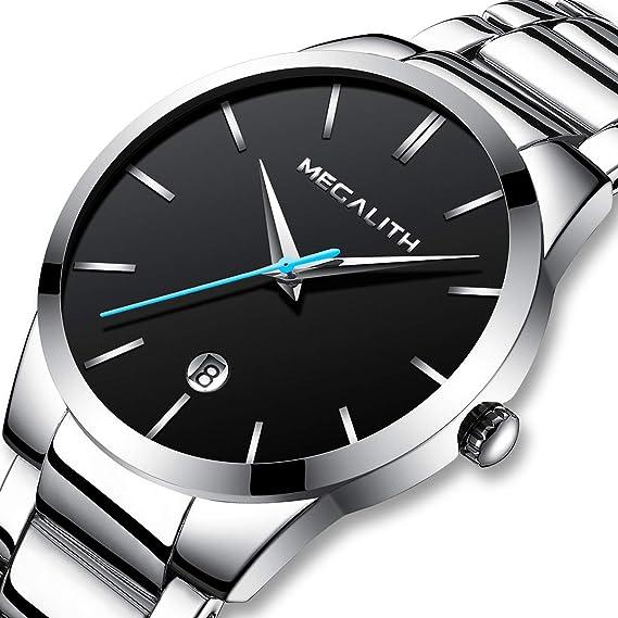 Relojes Hombre Relojes de Pulsera Deportivos Impermeable Negro Fecha Lujo de Acero Inoxidable Reloj Analogico Hombre Elegante Simple Clásico: Amazon.es: ...
