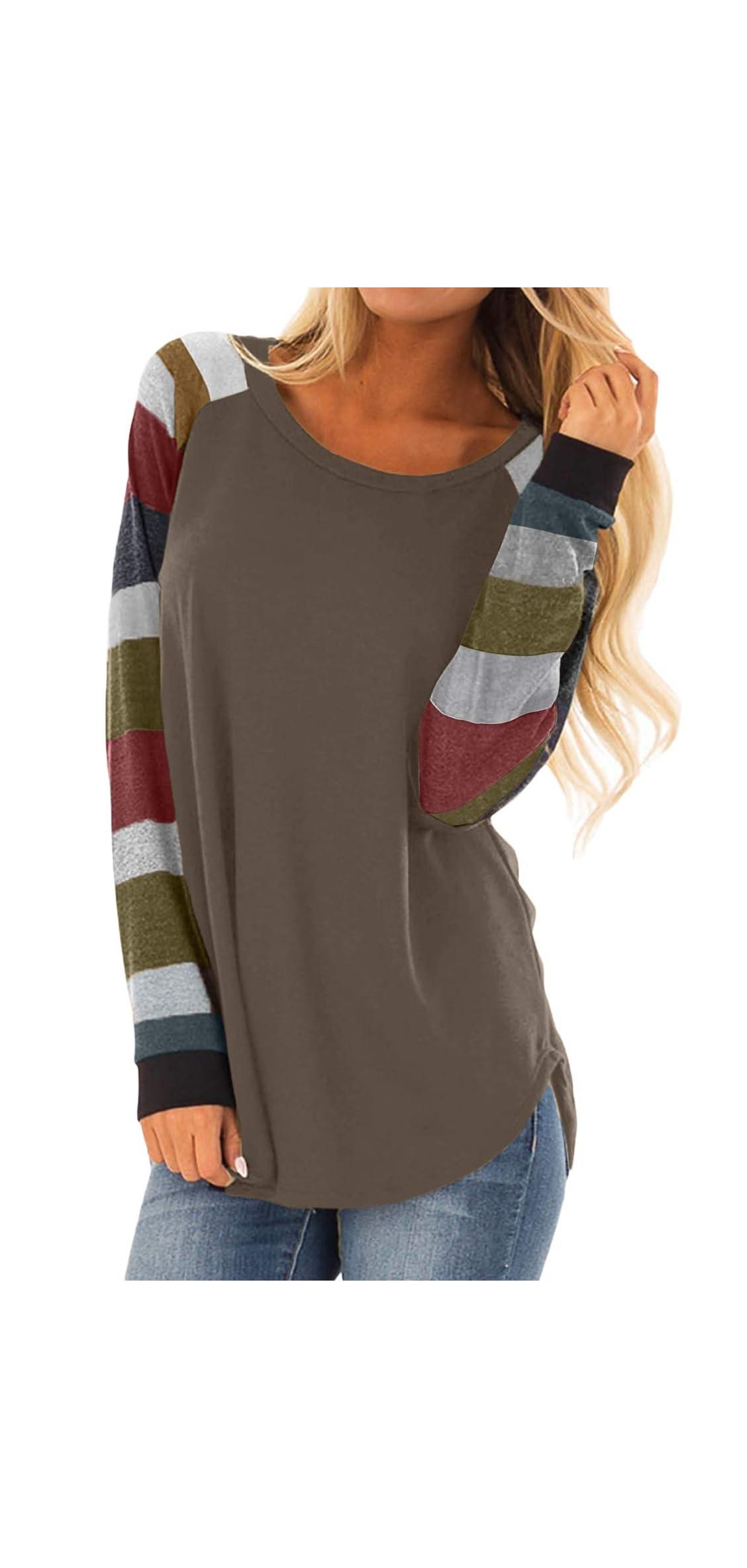 Womens Color Block Tunic Tops Crewneck Long Sleeve Loose