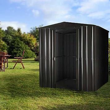 Lotus 6 x 4 Apex Premium Metal cobertizo gris antracita con cerradura doble puertas correderas: Amazon.es: Jardín