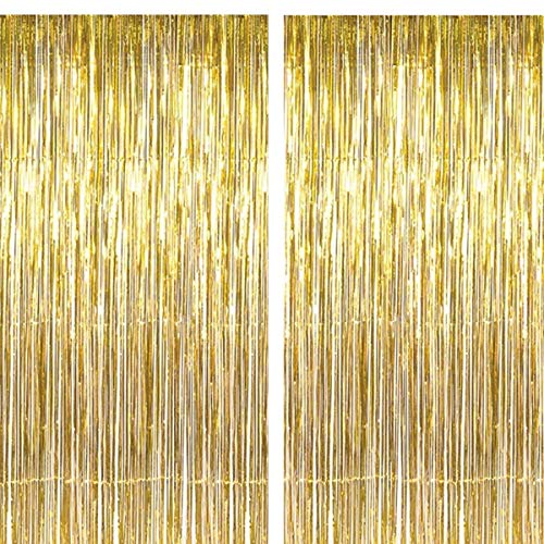(2 Pack 3.2 ft x 9.8 ft Gold Foil Curtains Metallic Fringe Curtains Shimmer Curtain for Party Photo Backdrop Birthday Wedding Baby Shower Decor Holiday Celebration Party)