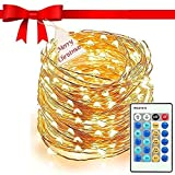 Upgraded 66ft 200 LED String Lights, String Lights with Remote Controller, Copper Wire and Warm White String Lights for DIY Bedroom, Patio, Garden, Party and Wedding, Best String Lights for 2018