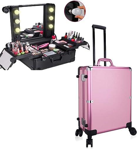 Estuche de Maquillaje Profesional Extensible Carretilla portátil Artista Caja de Organizador de Almacenamiento cosmético de Aluminio con luz y Espejo,Rosado: Amazon.es: Deportes y aire libre