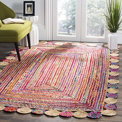 Safavieh Cape Cod Collection CAP201A Handmade Red and Multicolored Jute Area Rug 8' x 10'