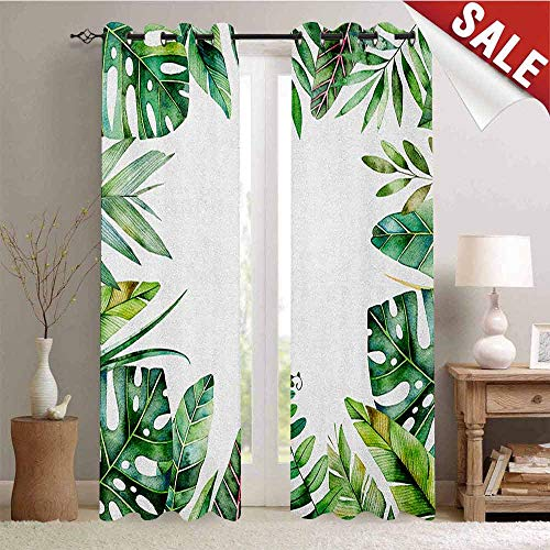 Plant Thermal Gromets Curtain Living Room Drapes, Interesting Jungle Themed Picture with Leaves and an Opening to The Sky Exotic Art Pattern Darkening Curtains, Fern Green, W84 x L84 Inches ()