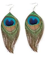 Boucles d'oreilles en véritable Plumes De Paon Naturelle Tendance Fashion
