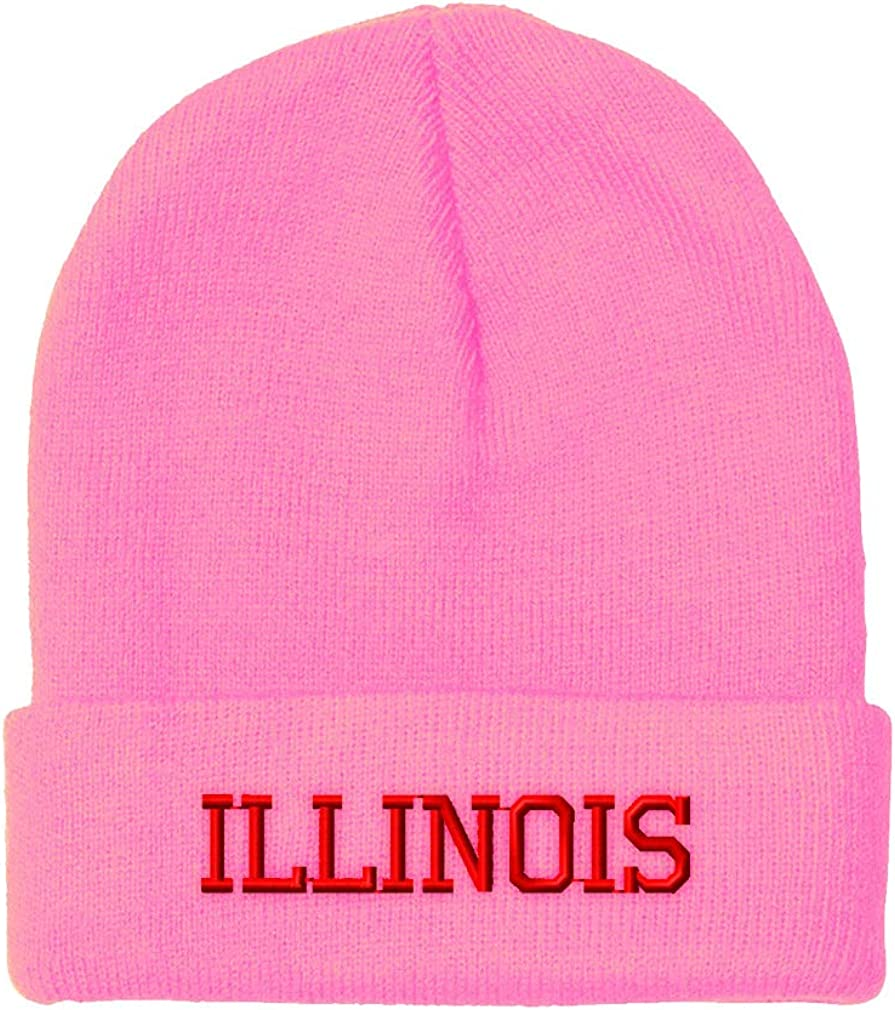 Custom Beanie for Men /& Women Illinois State America USA B Embroidery Acrylic