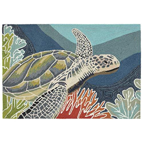 Liora Manne RVL23225704 Ravella Akumal Coastal Indoor/Outdoor Sea Turtle Ocean Animal Rug, (2' X 3'), Ocean Blue