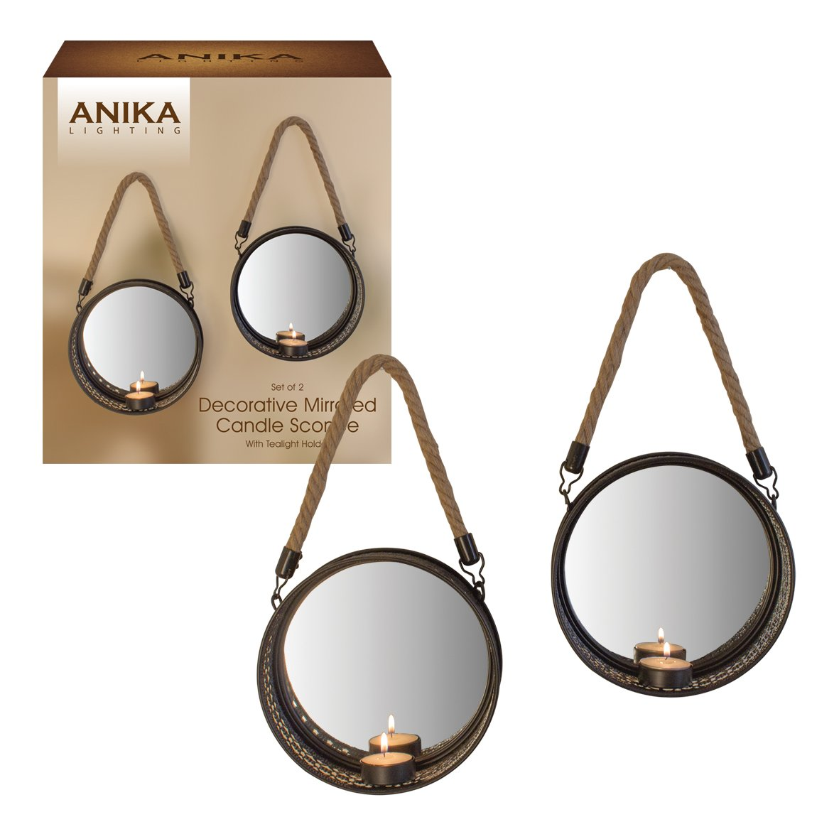 Anika Pack of 2 Decorative Black Metal Framed Geometric Pattern Mirror Backed Candle Tealight Holders, Metal, 2-Piece Benross 65360