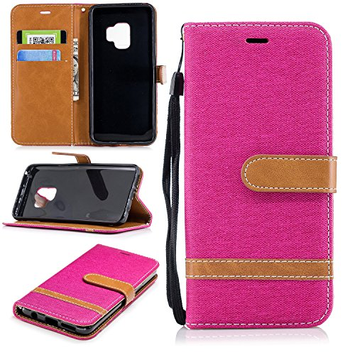 Galaxy S9 Wallet Case, S9 Case, Easytop Kickstand Feature PU Leather Jean Flip Foldable Wallet Cover Case Shockproof Portective Shell with Hand Strap Credit Card Slot for Samsung Galaxy S9 (Hot Pink)
