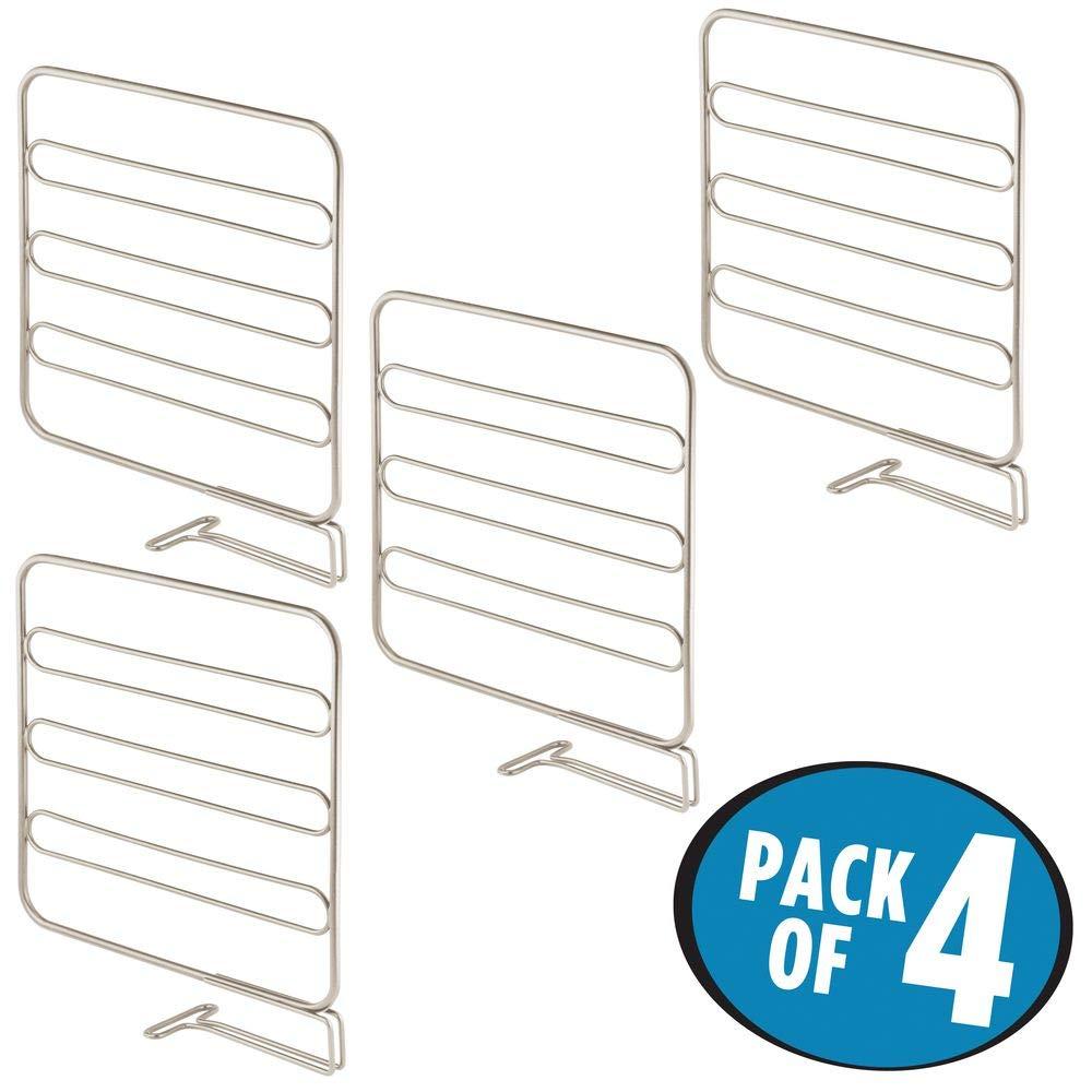 mDesign Juego de 4 separadores met/álicos para organizar armarios y estanter/ías negro Organizadores de armarios para colocar sin tornillos Pr/ácticos divisores de estantes y repisas