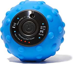 NatraCure 4-Speed Vibrating Massage Ball Roller - Rechargeable for Deep Tissue, Back Pain, Arch Pain, Muscle Pain Relief, Myofascial Release, Trigger Point Treatment - (10027-BLU-RET)